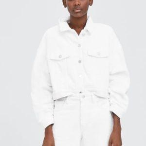 Zara cropped corduroy fleece lined jacket